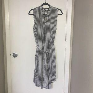 GAP sleeveless stripe midi shirtdress w/ POCKETS!
